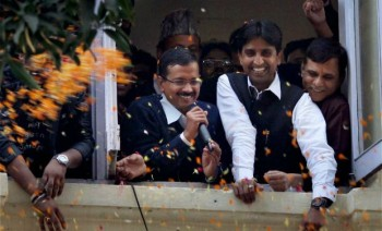 Mr Aravind Kejriwal after winning election. Photo copyright Deccan Chronicle.