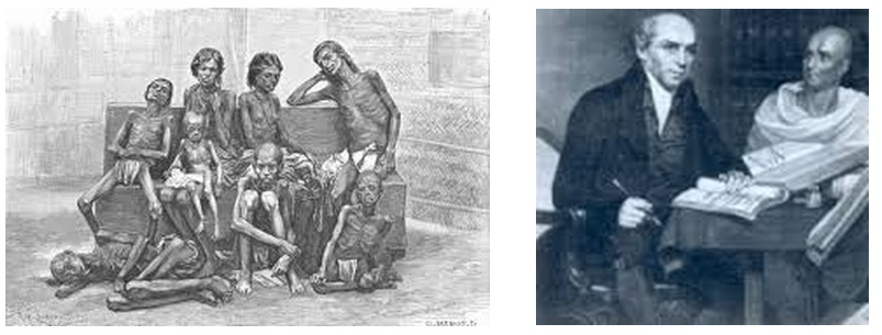 Let them eat culture: (l) An illustration of famine victims of the Permanent Settlement Acts, and (r ) the 19th century Bengali Renaissance was result of a joint venture interaction between British Administrators and their Bengali Zamindari (feudal) colleagues.