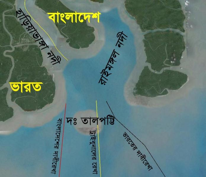 গুগল আর্থ এ দক্ষিণ তালপট্টি দ্বীপ