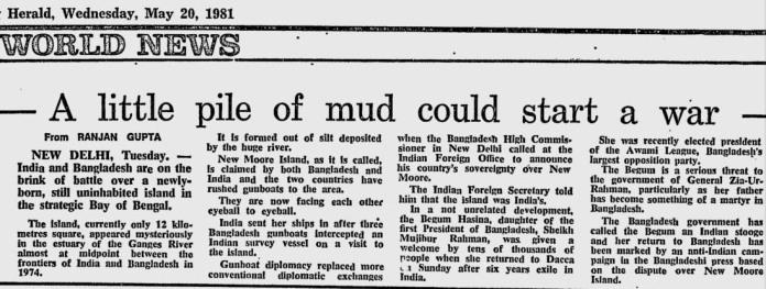 ১৯৮১ সালে ২০ মে অস্ট্রেলিয়ার সিডনি মর্নিং হেরাল্ডে বাংলাদেশ নৌ বাহিনীর প্রতিরোধের সংবাদ