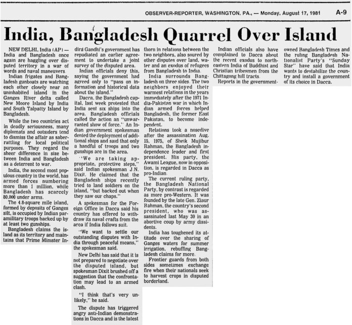 ১৯৮১ সালের ১৭ আগস্ট আবজারভার-রিপোর্টার পত্রিকায় বাংলাদেশ নৌ বাহিনীর প্রতিরোধের সংবাদ